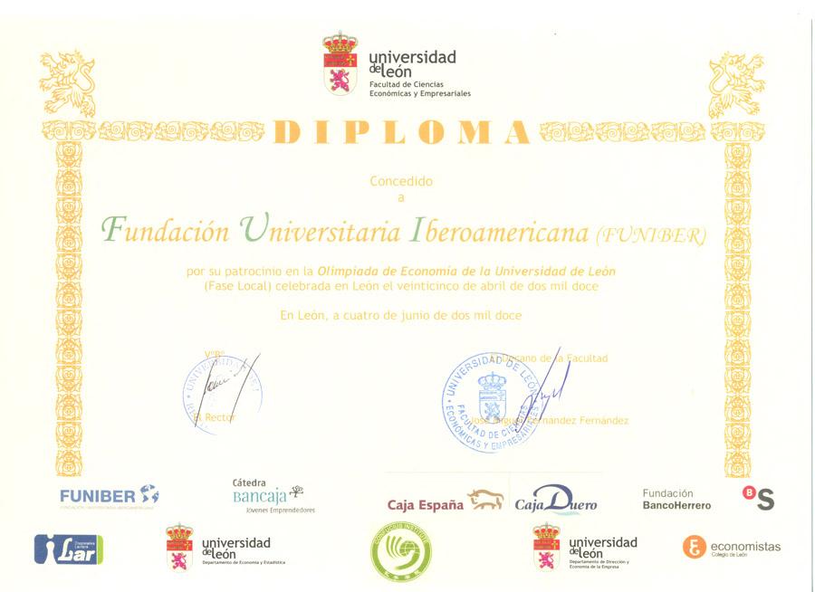 FUNIBER patrocina la IV Olimpiada de Economía de la Universidad de León