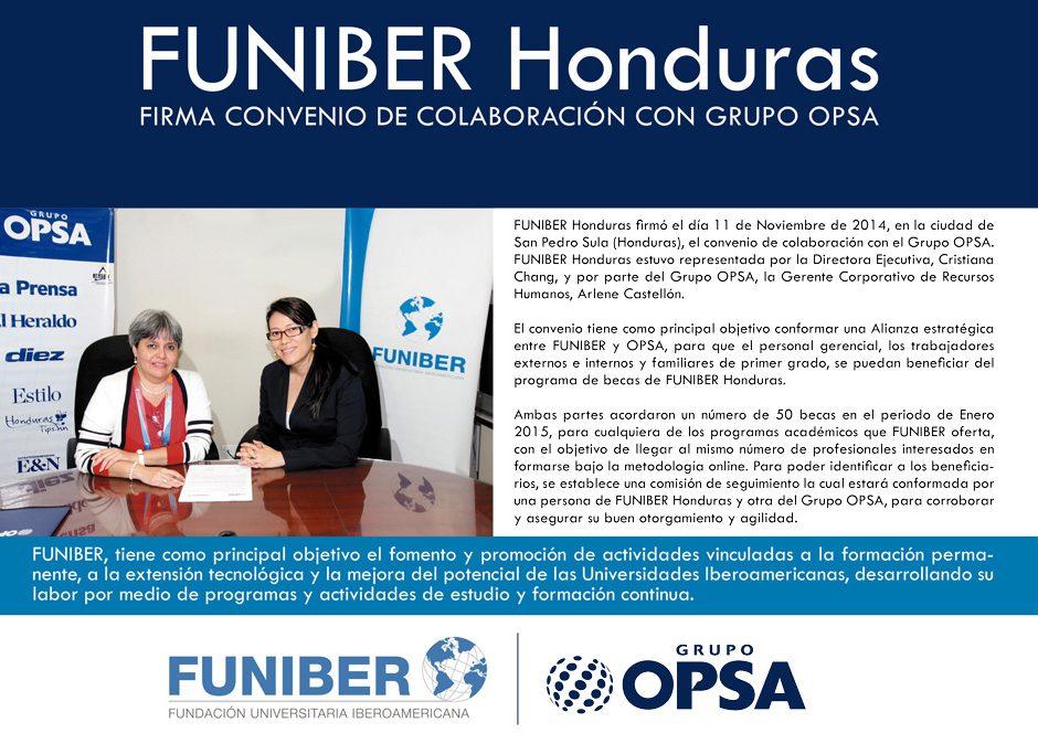 FUNIBER Honduras firma convenio de colaboración con Grupo OPSA