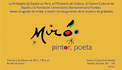 FUNIBER Perú presenta la exposición de Joan Miró – El Cántico del Sol y Las Maravillas con variaciones Acrósticas en el jardín de Miró.