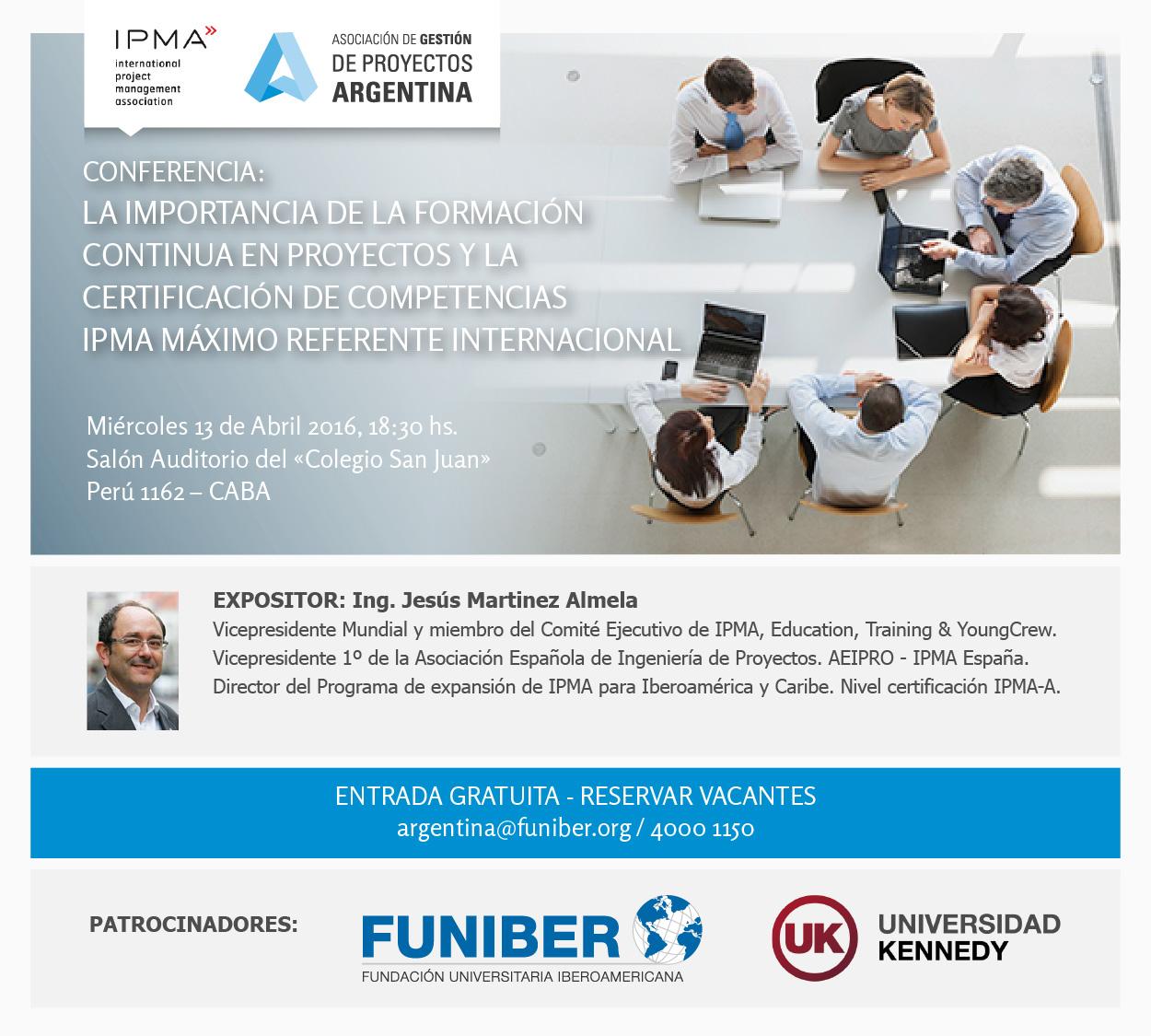 FUNIBER, Universidad Kennedy y AGPA organizan conferencia sobre proyectos en Argentina