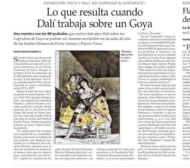 Exposición Goya-Dalí: Del Capricho al Disparate. Punta Arenas, Chile