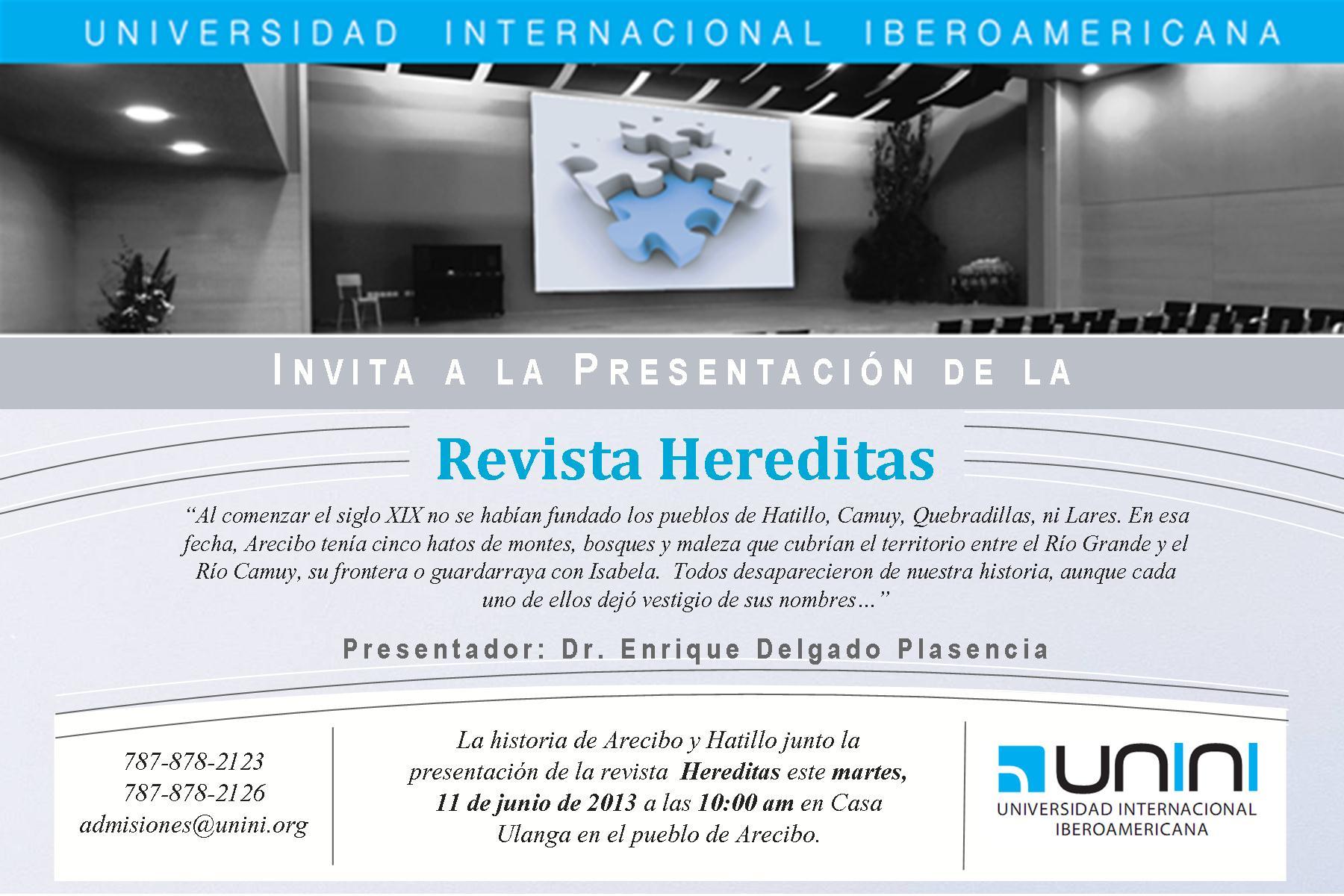 FUNIBER y UNINI Puerto Rico: Presentación de la Revista Hereditas