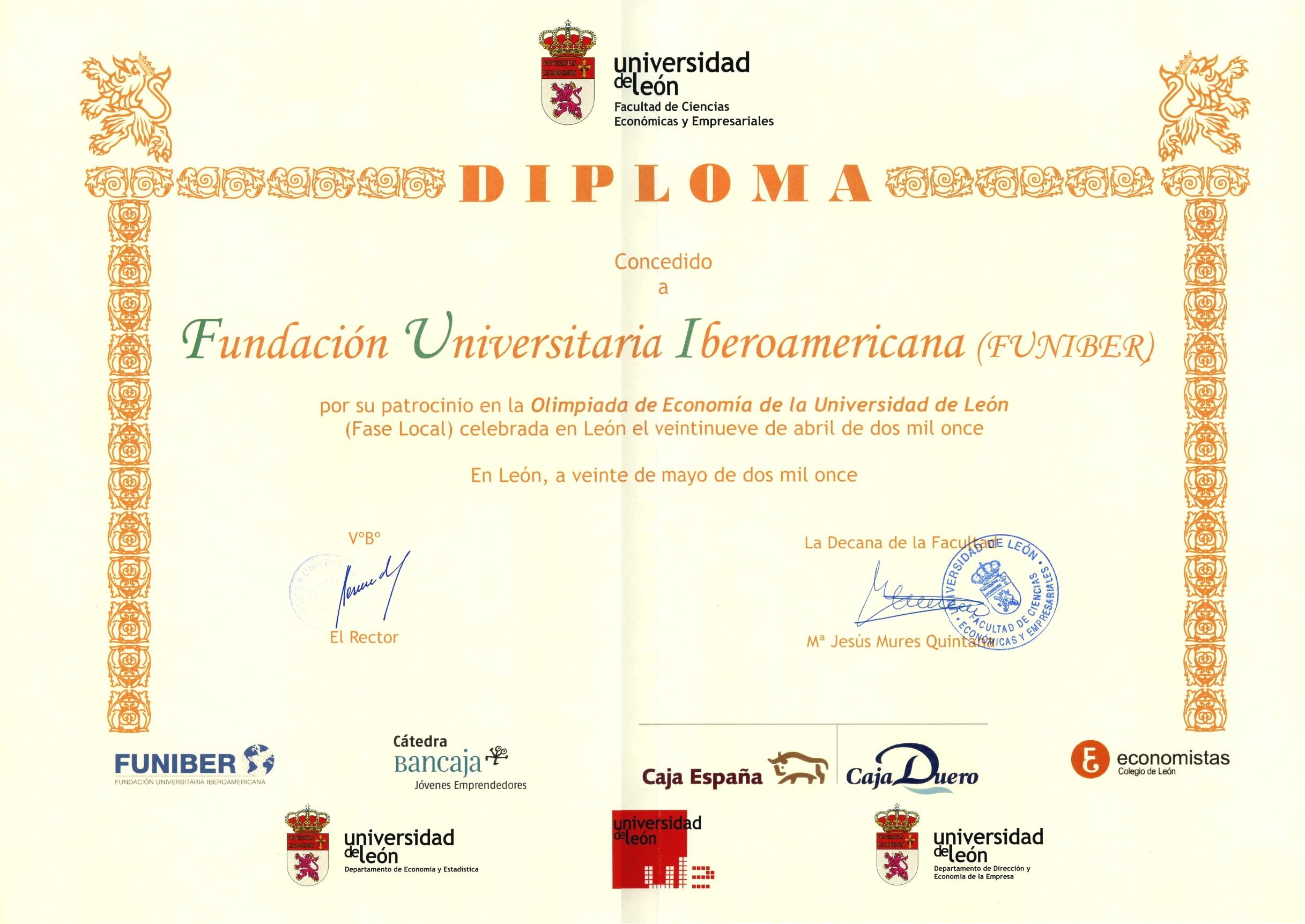 Funiber patrocina la III Olimpiada de Economía de la Universidad de León