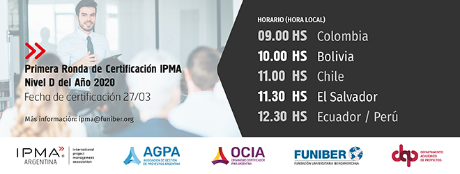 FUNIBER organiza la Primera Ronda de Certificación IPMA Nivel D 2020