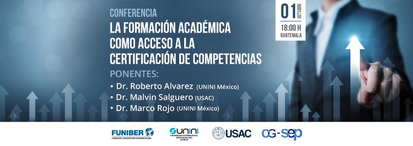 """Próximo Webinar sobre """"La formación académica como acceso a la certificación de competencias"""""""